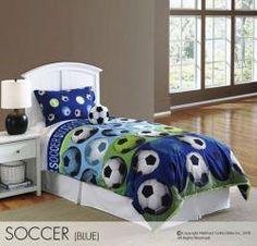 Score the winning goal with Hallmart Kids Soccer Blue Comforter Set, Twin or Full.  #boys #bedding #soccer