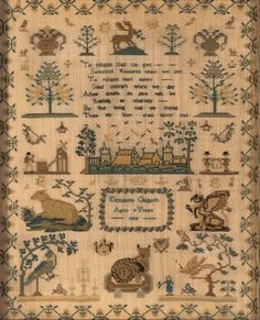 A Victorian linen cross-stitch needlework sampler, English, 19th century, worked by Elizabeth Claggett and dated 1848