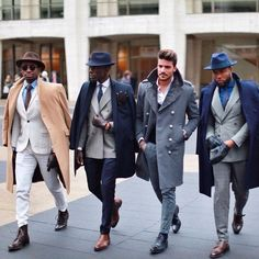 Dapper squad goals with beautiful top coats boots and suits.  including double breasted suits fedoras double monk shoes chelsea boots boots brogues ties leather gloves  #suit #menswear #gentlemen #classy #menstyle #mensfashion #fedora #topcoat #doublebreasted