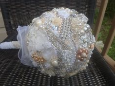 Bridal Bouquet - made with vintage jewelry