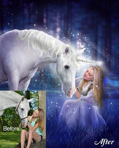 Custom Horse Portrait, Unicorn, Fantasy Portrait, Portrait from Photo, Fairytale Art, Princess and Unicorn, animal lover