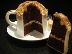 Right after coffee, I love coffee cake, and then cakes shaped like coffee.