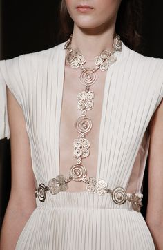 Pleated dress with elegant gold swirl harness; couture fashion details // Valentino Spring 2016