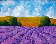 Rows of Lavender In Provence ORIGINAL ACRYLIC by MikeKrausArt