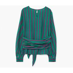 Striped Bow Blouse (€34) ❤ liked on Polyvore featuring tops, blouses, long sleeve blouse, stripe top, bow blouses, stripe blouse and striped top