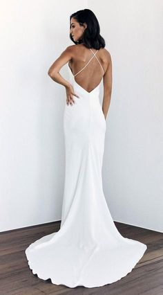 The Dove gown is a luxurious bias-cut, double-layered Crepe de Chine silk wedding dress, with fine silk straps, a v-neckline and cross-over open back for effortless luxury. Minimal Wedding Dress, Minimalist Wedding Dresses, Modern Wedding Dresses, Bridal Dresses, Wedding Gowns, Lace Wedding, Crystal Wedding, Mermaid Wedding, Bridesmaid Gowns