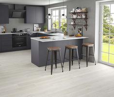 Small Open Plan Kitchens, Open Plan Kitchen Dining Living, Living Room Kitchen, Kitchen Decor, Kitchen Ideas, Kitchen Inspiration, Kitchen Interior, Grey Kitchen Walls, Grey Kitchens