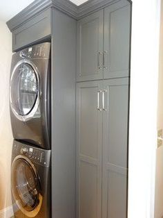 Laundry Room Renovation To maximize storage I opted for a stackable w/d in a great steel color. Adjacent is a tall split cabinet with one open side for the ironing board, broom, mop, etc and the other all shelves. Designed by Peapod Interiors