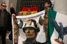 Far-right activists gave the fascist salute at a rally in Madrid held to commemorate the anniversary of the death of General Franco.