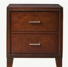 Two-Drawer Nightstand Smooth Sharp Lines Brown Cherry Finish Bedroom Furniture
