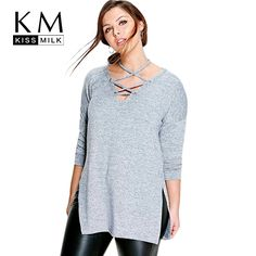 3a7333276caf Kissmilk Plus Size New Casual Solid Halter Tied Tops Long Sleeve Shirt