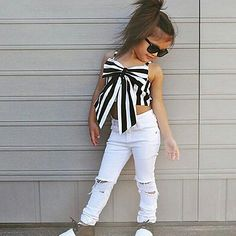 Cheap top config, Buy Quality suit brand directly from China suit girls Suppliers: 2017 Hot Girls Set Tops and Pants 2 Pieces Summer Stripes Ribbon Short Sling Fashion Hole Pants European Style Children's Suits Little Kid Fashion, Baby Girl Fashion, Kids Fashion, Ladies Fashion, Womens Fashion, Cute Girl Outfits, Toddler Outfits, Children Outfits, Fashion Pants