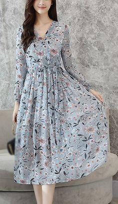 Elegant V-Neck Long Sleeve Print Skater Dress