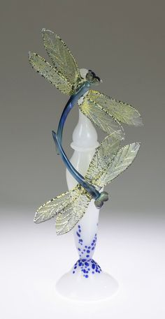Dragonfly Perfume Bottle II by Loy Allen. Lampworked glass bottle with two dragonflies and stopper.