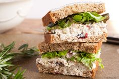 Chicken Salad Sandwich with Fuji apples and dried cranberries - Alma made it and it was delicious!