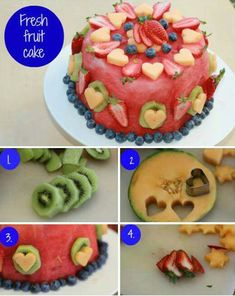 Watermelon cake - such a great and refreshing idea! Goodbye baking when it's so hot out! Oh, Hello fun, easy and no baking required fruit cake! Cakes To Make, How To Make Cake, Cake Made Of Fruit, Fresh Fruit Cake, Fruit Cakes, Fruit Birthday Cake, Baby Birthday Cakes, Birthday Ideas, Birthday Cake Alternatives