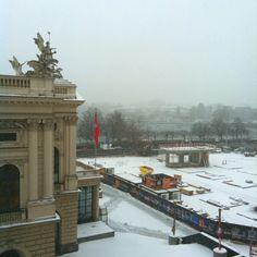 Blick aus dem Büro, 15.2.2012, 8:35 Uhr.