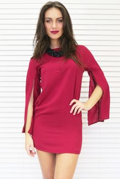 Flare Sleeve Shift Dress in Wine