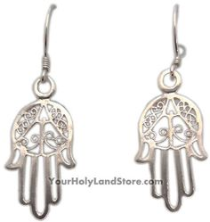 HAMSA EARRINGS #jewelry #earrings #beautiful #judaica #silver #hamsa