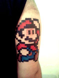 Mario 8-bit tattoo.