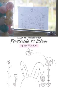 Painting cute window picture for Easter with chalk pens (with free template) - Lotte & Lieke Window Markers, Sidewalk Paint, Easter Drawings, Chalk Pencil, Window Art, Window Picture, Easter Art, Love Symbols, Chalk Art