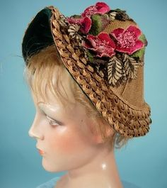 "c. 1885 RARE Fancy Edge Straw ""Gable Bonnet"" Trimmed in Bottle Green Velvet with Velvet Flowers!"