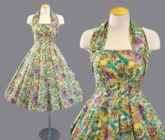 VTG-50s-SUZY-PERETTE-Hawaiian-HALTER-FULL-SKIRT-Garden-SUN-DRESS-Rockabilly-Lucy