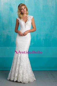 2016 Sexy sirena vestidos de novia V-Cuello Tulle con rebordear y apliques Botón cubierto de tren capilla US$ 279.99 VTOP4BB3YGJ - vestidobello.com