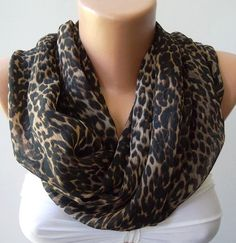 Elegant++Infinity+Scarf+Leopard++Loop+Scarf+Circle+Scarf+by+womann,+$18.00