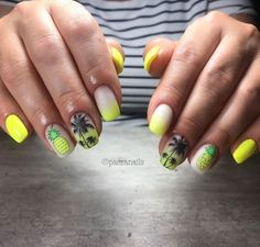 clearjellystamper Love this bright mani done by @paczanails 💛🖤 Thank you for sharing!!  #SeeWhereYouStamp #AuthenticClearJellyStamper #OriginalClearJellyStamper ClearJellyStamper.com  #fruitnails #fruitynails #clearjellystamper #linanailartsupplies #pineapple #pineapplenails #neonnails #yellownails #bornpretty #stampingnails #stamping #stampingnailart #summernails #cjs130 #palmtrees #palmtreesnails #palmynapaznokciach #ombrenails #mattenails Neon Nail Art, Neon Nails, Glitter Nail Art, Nail Art Diy, Easy Nail Art, Yellow Nail Polish, Yellow Nails, Tropical Nail Art, Pineapple Nails