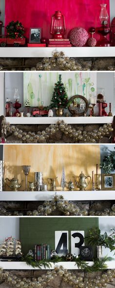 The same garland sets the stage for four different mantle looks: tailored vintage, modern metallic, holiday Americana, and monochromatic. Which is your favorite? >> http://www.hgtv.com/design/make-and-celebrate/holidays/give-your-holiday-mantel-four-different-looks-pictures?soc=holidaypinparty