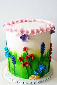 how to: spring flower cake tutorial Cupcakes, Cupcake Cakes, Pretty Cakes, Beautiful Cakes, Piggy Cake, 90th Birthday Cakes, 2nd Birthday, Fiesta Baby Shower, Garden Cakes