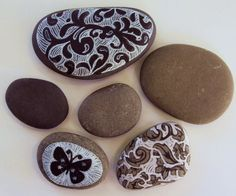 stones with painted designs.  kind of pretty.