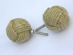 Lot of 6 Monkey Fist Jute Rope Shelves Drawer Knobs by Amazeindia