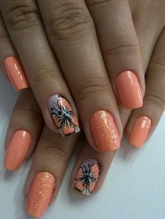Butterfly Nail Art Ideas - Page 14 of 21 - Nails Queen Butterfly Nail Designs, Butterfly Nail Art, Fall Nail Designs, Orange Butterfly, Cute Summer Nails, Fun Nails, Uñas Color Coral, Orange Color, Nailart