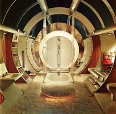 Retro/modern Man Cave by the Selvedge Yard. Ok I would love it if the carpet/fur was gone! 1970s Decor, Retro Home Decor, Modern Man Cave, Colani, Futuristic Interior, 1960s Interior, Spaceship Interior, Design Interior, Interior Concept