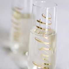 4ce722df0 The Original Personalized Stemless Champagne Flute by Cambridge Avenue  Design. Perfect for your bridesmaid proposal