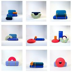 Array is a series of large, colorful foam blocks by recent Design Academy Eindhoven graduate @TijsGilde that you can arrange however you like. Each felt-covered block has a built-in yellow strap that allows you to tie the pieces together to hold them in place.