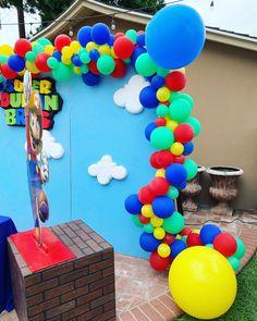 Confetti and Sprinkles Mario Birthday Cake, Super Mario Birthday, Super Mario Party, 9th Birthday Parties, Birthday Party Decorations, 3rd Birthday, Mario Bros., Mario And Luigi, Nintendo Party
