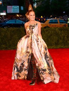 My personal favourite from the Met Gala 2013.. Sarah Jessica Parker. I want tartan thigh-high boots!