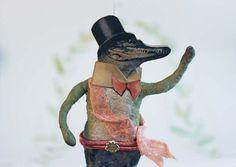 RESERVIERT Nostalgische Wattefigur Krokodil von FilASophie auf Etsy vintage inspired Spun cotton crocodile christmas ornament
