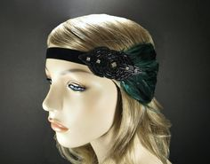 Great Gatsby Headpiece, 1920s Art Deco Flapper Headband, Roaring 20s Party Black Beaded Rhinestone & Emerald Green Feather Fascinator