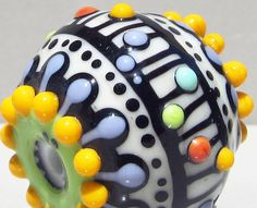 Big Single in CreamHandmade Lampwork Glass Bead by beadygirlbeads, $29.00