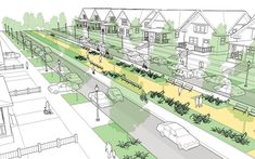 Residential Boulevard - National Association of City Transportation Officials Urban Design Diagram, Urban Design Plan, Green Landscape, Landscape Design, A As Architecture, Architecture Diagrams, Architecture Portfolio, Urban Ideas, New Urbanism