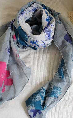 Schal Stola Tuch Pink Lila  Bunt  Neu Trend Blume Blumen