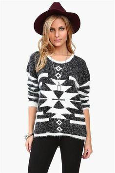 Fuzzy Boulder Sweater in Black & White.