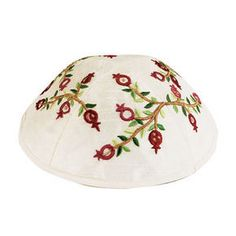 Get Beautiful Embroidered Kippah embroidered with lush branches of ripe burgundy pomegranates and leaves.  Yair Emanuel is proud to present their exciting collection of Embroidered Kippas.  it's soft, elegant and beautiful way to express your Judaism as well as your style.  You can Gift it to your family and friends.  Get this kippa of $ 14.00 only. For more information visit http://www.yarmulkes.com/system/scrip...