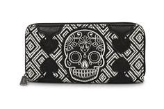 Loungefly B/W Tweed Skull Wallet