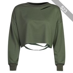 Military Green Ripped Drop Shoulder Cropped Sweatshirt