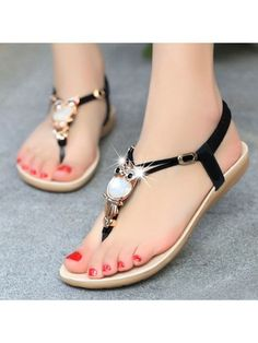 Designed T-strap Flat-sandal With Cute Owl Flat Sandals from fashionmia.com